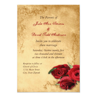 Vintage Caramel Brown & Rose Wedding 13 Cm X 18 Cm Invitation Card