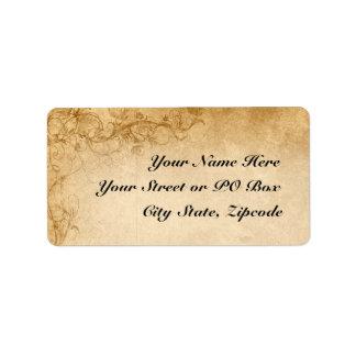 Vintage Caramel Brown & Rose Wedding Address Label