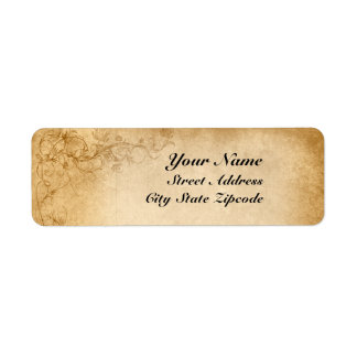 Vintage Caramel Brown & Rose Wedding Return Address Label