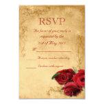 Vintage Caramel Brown & Rose Wedding RSVP 9 Cm X 13 Cm Invitation Card