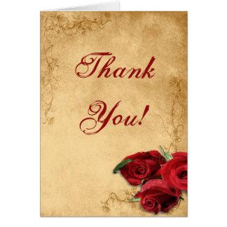 Vintage Caramel Brown & Rose Wedding Thank You Card