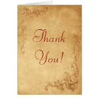 Vintage Caramel Brown Thank You Note Card