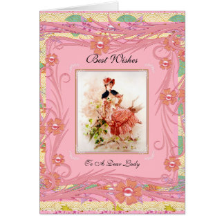 Vintage Card Lady Sitting On Tree Best Wishes Pink Card