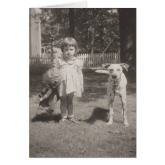 vintage card-little girl, doll and Dalmation dog Card