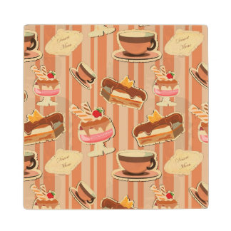 Vintage Card With A Strawberry Dessert Wood Coaster