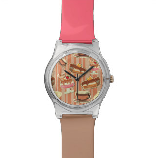 Vintage Card With A Strawberry Dessert Wristwatch