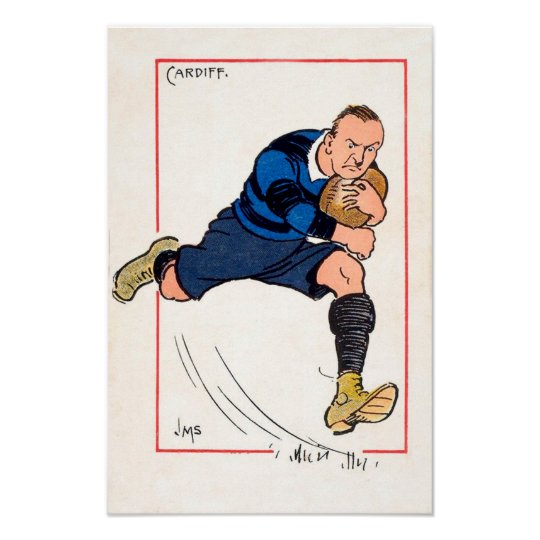 Vintage Cardiff Rugby - Poster