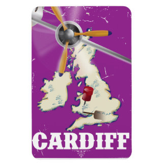 Vintage Cardiff Wales Travel Poster Rectangular Photo Magnet