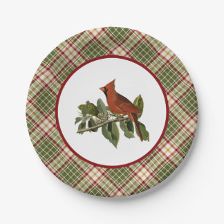 Vintage Cardinal with Christmas Plaid Paper Plates 7 Inch Paper Plate