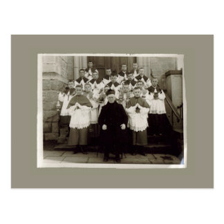 Vintage Cards - Catholic church Priest and boys Postcard