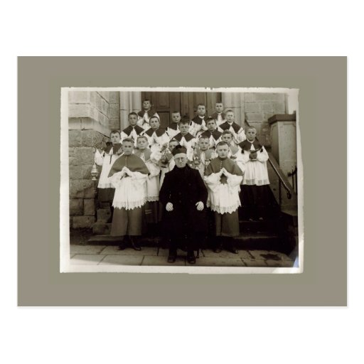 Vintage Cards - Catholic church Priest and boys Postcards