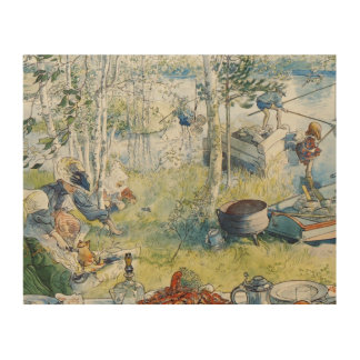 Vintage Carl Larsson Cray Fishing With The  Family Wood Wall Art