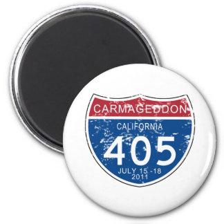 VINTAGE Carmageddon Worn Look 6 Cm Round Magnet