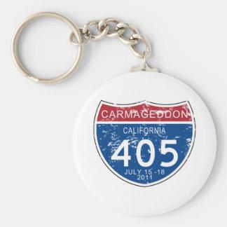 VINTAGE Carmageddon Worn Look Basic Round Button Key Ring