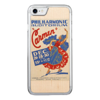 "Vintage ""Carmen"" Performing Arts WPA Poster Carved iPhone 7 Case"