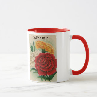 vintage carnation seed packet mug