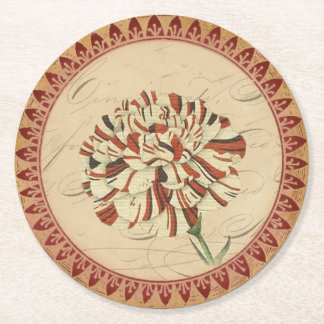 Vintage Carnation With Burgundy Accents Round Paper Coaster