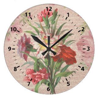 Vintage Carnations with Script Floral Background Clock