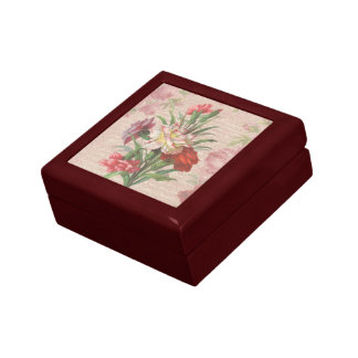 Vintage Carnations with Script Floral Background Small Square Gift Box