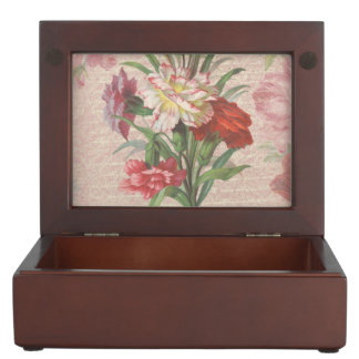 Vintage Carnations with Script Floral Background Memory Box