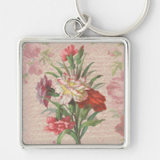 Vintage Carnations with Script Floral Background Silver-Colored Square Key Ring