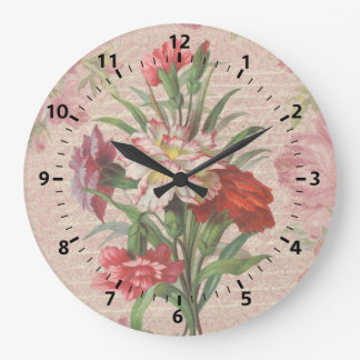 Vintage Carnations with Script Floral Background Large Clock