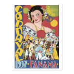 Vintage Carnival 1937 Panama Travel Poster Post Cards