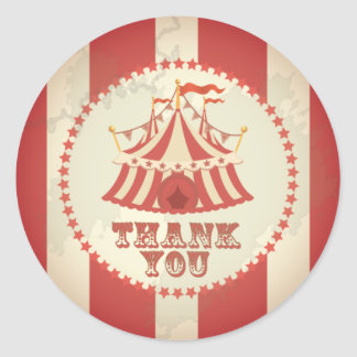 Vintage Carnival, Circus Tent, Thank You Sticker