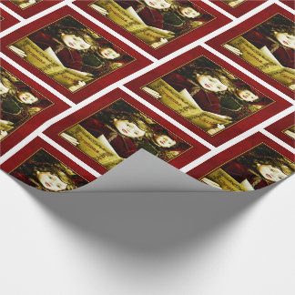 Vintage Carolers in Deep Reds and Golds Christmas Wrapping Paper