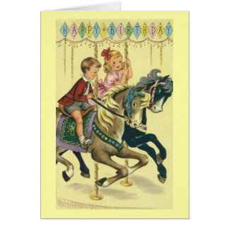 Vintage Carousel Birthday Greeting Card