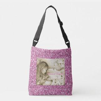 Vintage Carousel Dreams Pink Faux Glitter Crossbody Bag