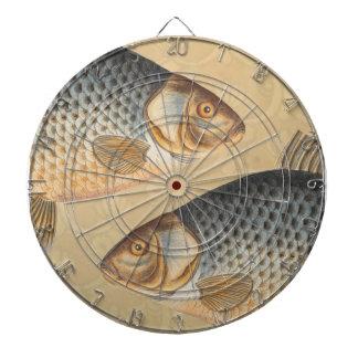 Vintage Carp Freshwater Fish Drawing Dartboard