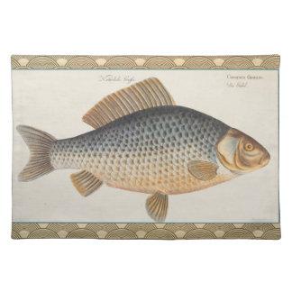 Vintage Carp Freshwater Fish Drawing Placemats