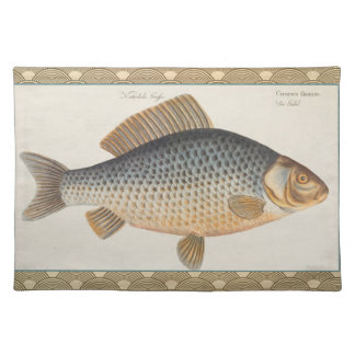 Vintage Carp Freshwater Fish Drawing Placemat