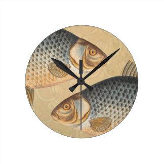 Vintage Carp Freshwater Fish Drawing Wall Clocks