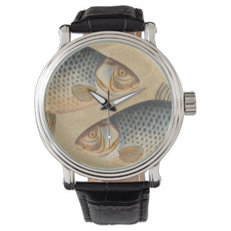 Vintage Carp Freshwater Fish Drawing Watch