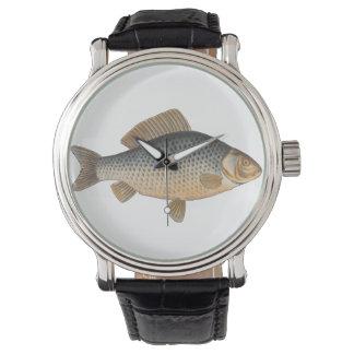 Vintage Carp Freshwater Fish Drawing Wristwatches