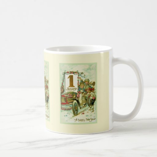 Vintage Carriage for New Year Coffee Mugs