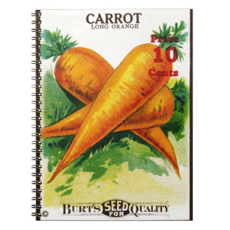 Vintage Carrot Seed Packet Design Note Book