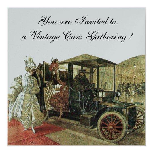 VINTAGE CARS, AUTO RESTORATION 2,Red Yellow Silver 13 Cm X 13 Cm Square Invitation Card
