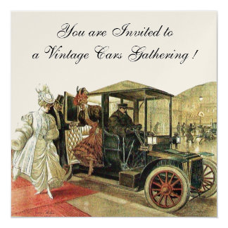 VINTAGE CARS, AUTO RESTORATION Red White Champagne Card