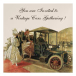 VINTAGE CARS, AUTO RESTORATION Red White Champagne Personalized Invitations