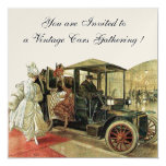 VINTAGE CARS, AUTO RESTORATION Red White Champagne 5.25x5.25 Square Paper Invitation Card