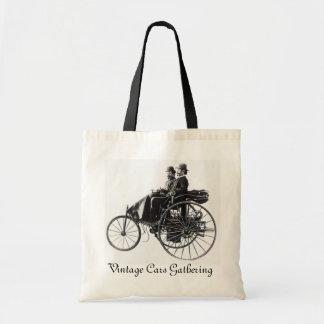 Vintage Cars Gathering , black and white Budget Tote Bag