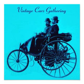 ViNTAGE CARS GATHERING blue turquase 13 Cm X 13 Cm Square Invitation Card