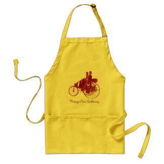 Vintage Cars Gathering , brown yellow Adult Apron