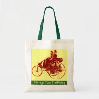 Vintage Cars Gathering ,brown yellow green Budget Tote Bag