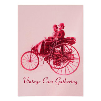 ViNTAGE CARS GATHERING  champagne red fuchsia pink Personalized Invite