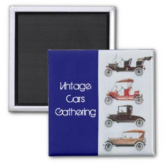 Vintage Cars Gathering Classic Auto Grey Blue Magnet