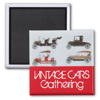 Vintage Cars Gathering Classic Auto Red Grey Magnet